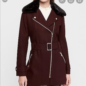 Express Faux Fur Collar Wool Blend Coat